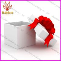 Fashionable Luxury Gift Cardboard Paper Box With Red Silk Ribbon