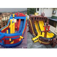 China Custom Giant Inflatable Pirate Ship Slide For Rental Jumping Bouncer Ship Slide on sale