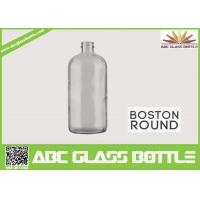 Quality 8oz Boston Round Glass Bottle With Screw Cap Clear Color wholesale