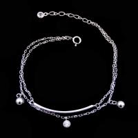 Quality 925 Silver Cubic Zirconia Bracelet , Double Chain Bracelet With Ball Charming Item wholesale