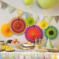 China Multicolor Paper Flower Fan Suit Inside Or Outside Door Decorations on sale