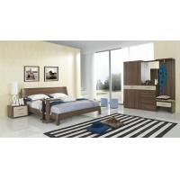 Quality Walnut wood home bedroom furniture sets by curved headboard bed and full mirror stand wholesale