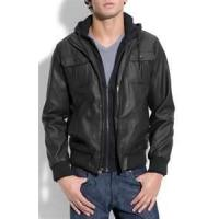 Quality S M L XL Windproof customized Men's fleece lined genuine leather jackets wholesale