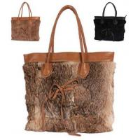 China Top Quality Womens Rabbit Fur and Faux Leahter Tote Bag on sale