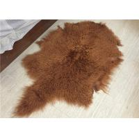China Soft Curly Long Hair Large White Sheepskin Rug 100% Mongolian / Tibetan Lamb Fur on sale