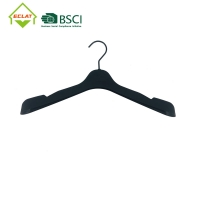 China 22cm Black Heavy Duty Plastic Hangers For Sleeveless Shirts on sale