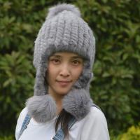 China Checked Style Knit Winter Hat , Adult Size Womens Knit Hats Customized Color on sale
