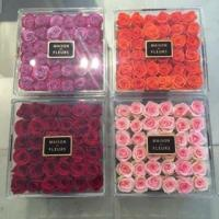 Cheap best selling plexiglass display box with cover royal rose acryl clear flower packaging box with logo for sale