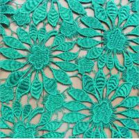 China 100% Polyester Chemical Lace embroidery Fabric with Green Color on sale