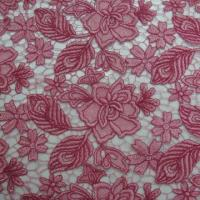 Quality Lace Fabric, Pink Water-solubility Embroideries Lace with Cord wholesale