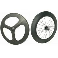 Quality Light Weight 3 Spoke Carbon Track Bike Wheels 700C 20MM Width Anti High Temperature wholesale