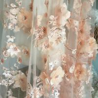 Quality Luxury 3D Floral Beaded Bridal Lace Fabric , Scalloped Edge Wedding Gown Lace Fabric wholesale