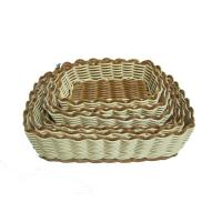 Quality Long Poly Rattan Storage Baskets Tray For Candy , Light Brown wholesale