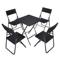 China Camping Foldable Table And Chairs 61x75x61 Cm With Rattan Like Plastic Surface on sale