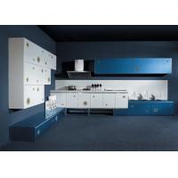 Buy cheap White Wood Grain Lacquer Kitchen Cabinets , Tall Kitchen Island Cabinets product