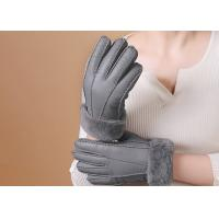 Quality Double Face Leather Mittens Sheepskin Lined , Windproof Sheepskin Driving Gloves wholesale