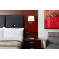 Cheap Hotel Bedroom Furniture Mahogany wood headboard Bed and Fixed Millwork TV Wall Panel with Reading desk for sale