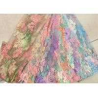 Quality 3D Beaded Lace Fabric , Scalloped Multi Color Floral Embroidered Fabric For Skirt wholesale