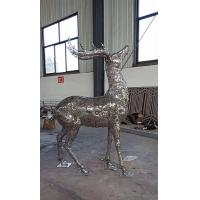Quality 2019 China Stainless Steel Elk Wapiti Metal Sculptures For Garden Wall Art wholesale