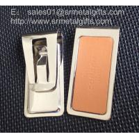 China Silver stainless steel money clip with stamped logo leather pad, on sale