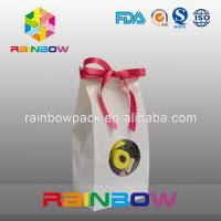 China White Kraft Paper Bag For Candy Packaging With Front Round Window on sale