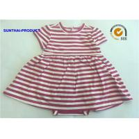 Quality Short Sleeve Newborn Baby Girl Dresses , 100% Cotton  Baby Girl Striped Dress wholesale