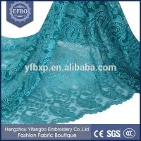 Quality Latest guipure lace embroidery french lace fabric / dubai dress fabric with stone and bead wholesale
