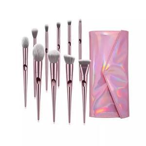Quality Synthetic Hair Makeup Foundation Brush Sets Plastic Handle Aluminum Ferrule wholesale