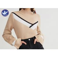 Quality Mock Neck Fashion Womens Knit Pullover Sweater Computer Machine Knit wholesale