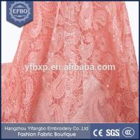 Quality Decorated with beads and rhinestones embroidery on mesh nigerian wedding dress lace fabric wholesale