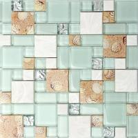 Quality Resin White Lip Pearl Aqua Shell Mosaic Tile Mix Beach Conch For Glass Countertop wholesale