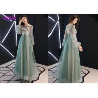 Quality Floral party dress green pink blue colors long puff sleeves tulle evening dress wholesale