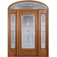 China Prehung Exterior Wood Door With 2 Sidelites on sale