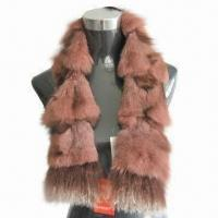 China Fox Fur Scarf, with Mongolia Fur Trim, Suitable for Women on sale