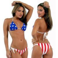 Quality Victoras Screct female fission gathered bikini swimsuit vs hot spring American flag style wholesale