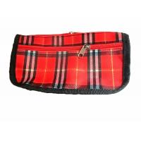 Quality Red lattice travel cosmetic bag with front pocket for girl / ladies wholesale
