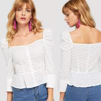 China Cotton White Embroidered Button Up Puff Sleeve Women Blouses 2018 New Designs on sale