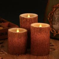 Quality Set of 3 Bark Simulation Pillar LED Candles with 10-Key Remote and Cycling 24 Hours Timer wholesale