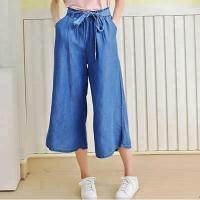 Quality 100% Lyocell new designs photos wide leg ladies pants women bell-bottom jeans wholesale