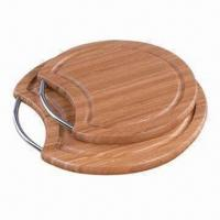 Quality Round Bamboo Chopping Board with Handle, Customized Designs are Welcome wholesale