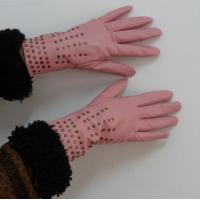 Quality Ladies Fashion goatskin genuine leather gloves finger dress gloves with rivet wholesale