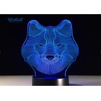 Quality 7 Color Wolf 3D Visual Kids Childrens Night Light Touch USB Baby Sleeping wholesale