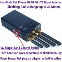Quality 4 Antenna Handheld Cell Phone 2G 3G 4G LTE Signal Jammer Blocker W/ Single Control Switch wholesale