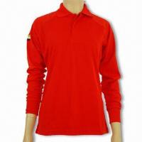 China Men's Long-sleeved Polo Shirt with Cotton Knit Pique, Customer's Logo is Welcome on sale