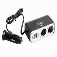 Quality Twin Socket 2 USB Charger/Car Charger Hub, Dual USB/Cigarette wholesale