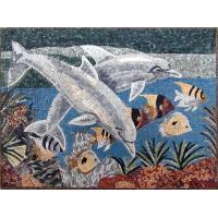Quality Blue Sea White Dolphins Mosaic Art Patterns Medallion Fish Border Marble Mosaic Tile wholesale