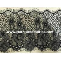China 10  Knitted Flower Beaded Eyelash Lace Trim Black With Drop - Shaped on sale
