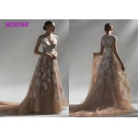 Quality Ball Multi Colored Wedding Gowns Brown Lace Appliques Bridal Gowns Long Robe wholesale