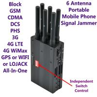 Quality 6 Antenna High Power Portable Cell Phone Signal Jammer GSM 3G 4G LTE WIMAX GPS WIFI LOJACK wholesale