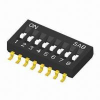 Quality 1.27mm Half Pitch DIP Switch, Gold and Tin Platings are Available, Unique, 1, 3 and 5 Poles wholesale